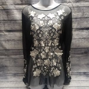 INC International Concepts See Through Floral Top
